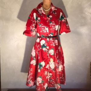 NWT Viola MODCLOTH Floral Respectfully Retro Dress